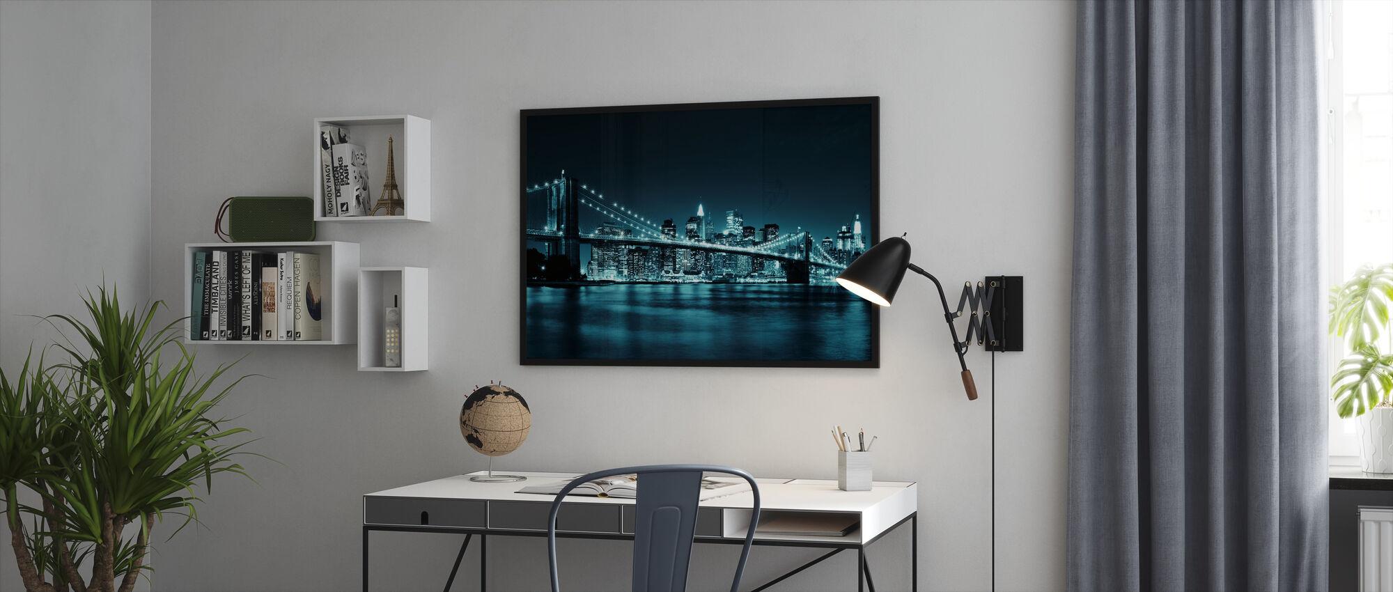 Brooklyn Bridge - Blå - Innrammet bilde - Kontor