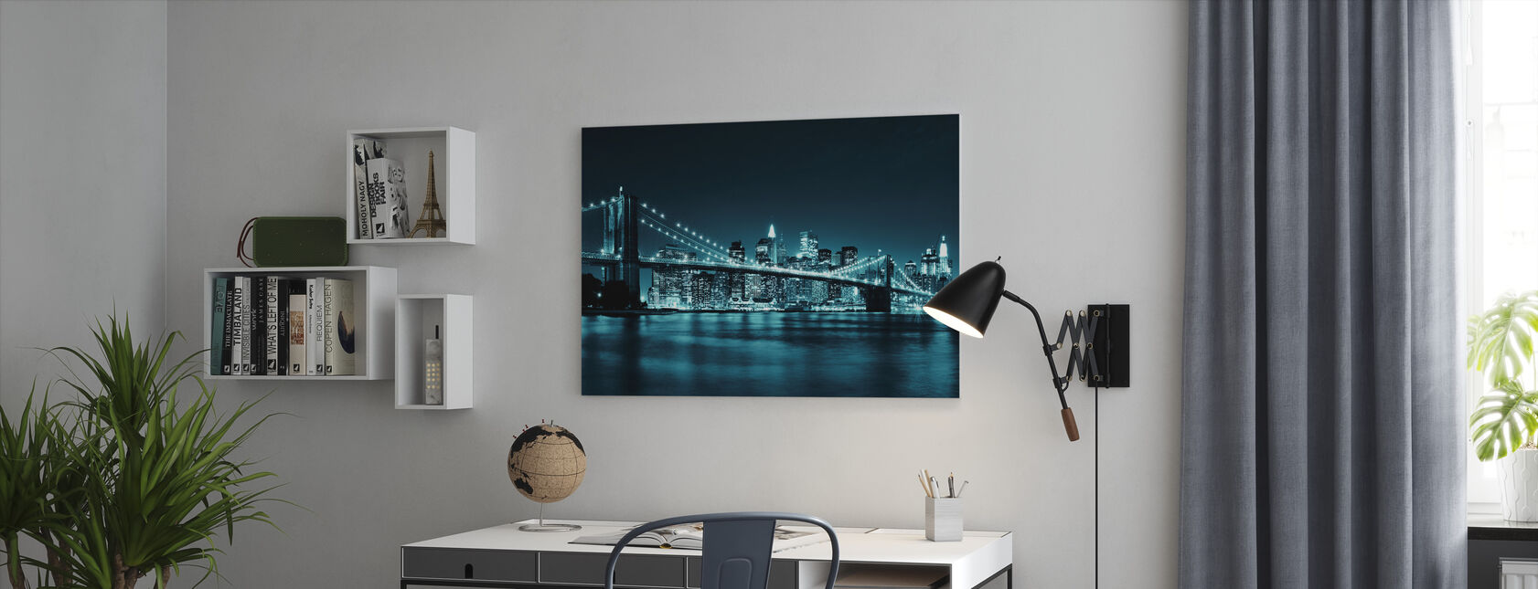 Brooklyn Bridge - Blue - Canvas print - Office