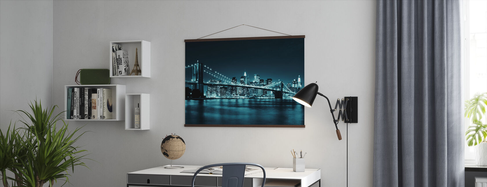 Brooklyn Bridge - Blå - Plakat - Kontor