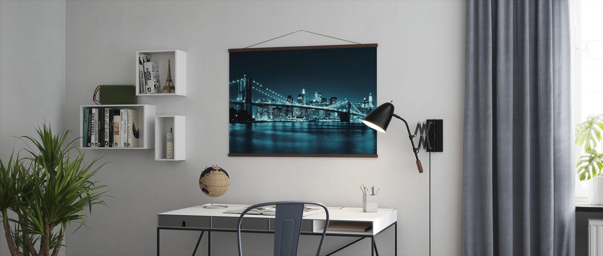Brooklyn Bridge - Blauw - Poster - Kantoor