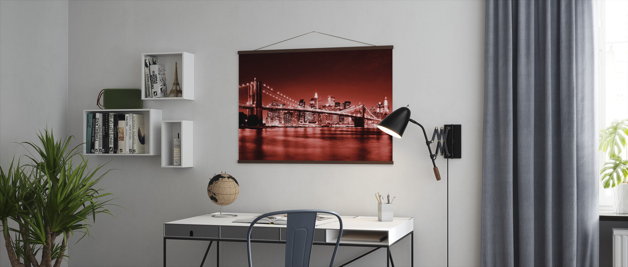 Brooklyn Bridge - Red - Poster - Office