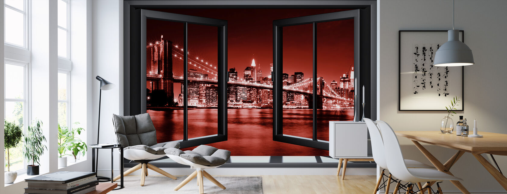 Brooklyn Bridge Through Window - Red - Wallpaper - Living Room