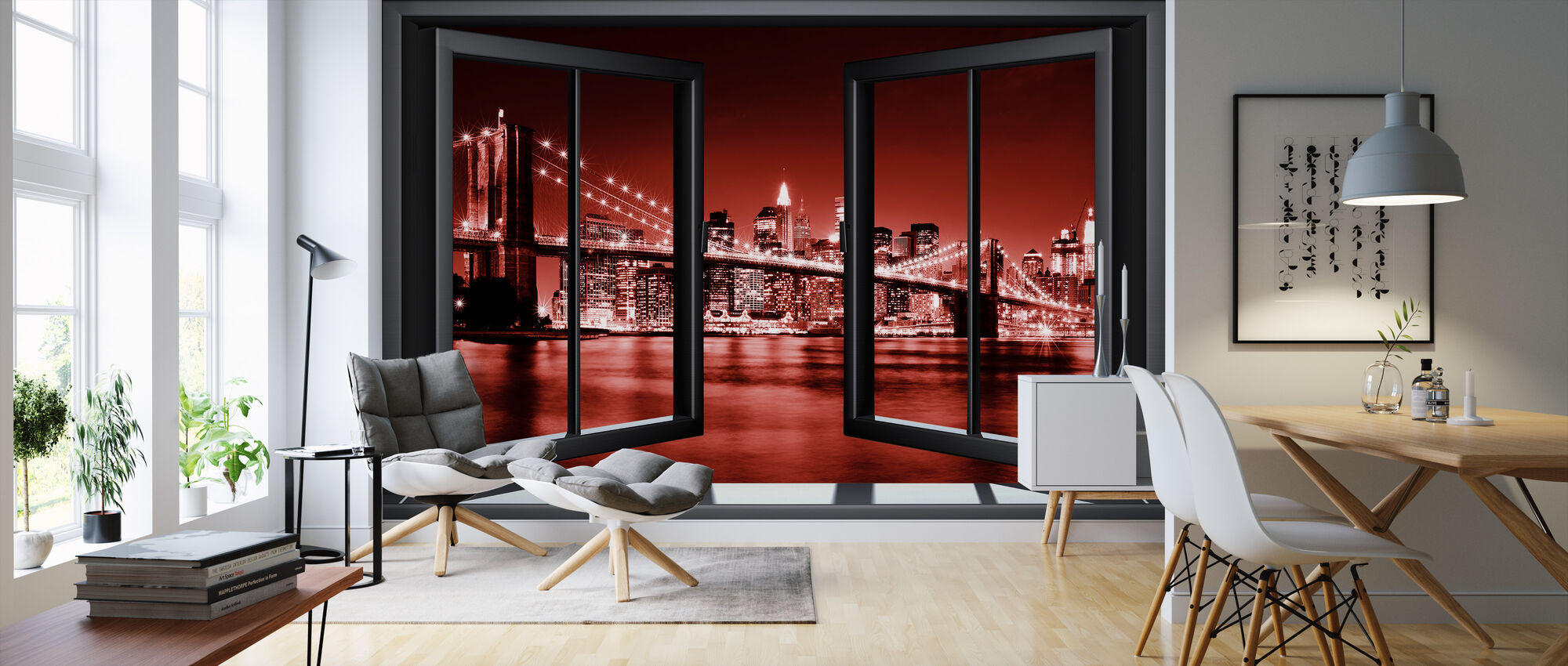 Brooklyn Bridge Through Window - Red - Wallpaper - Living Room