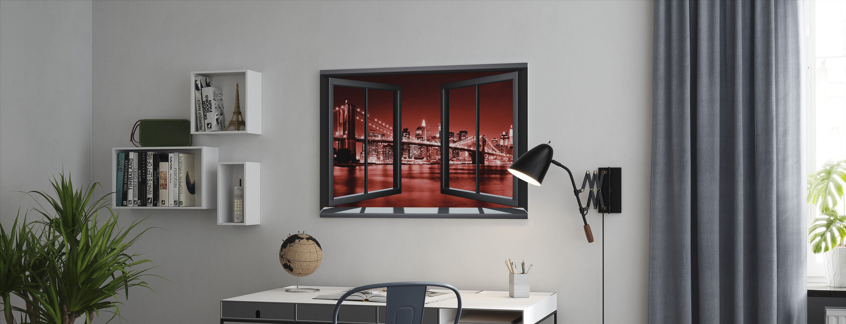 Brooklyn Bridge door raam - rood - Canvas print - Kantoor