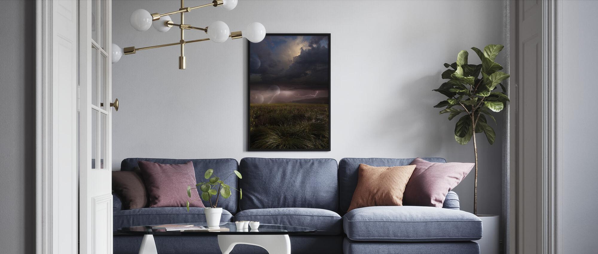 Pink Lightning - Framed print - Living Room