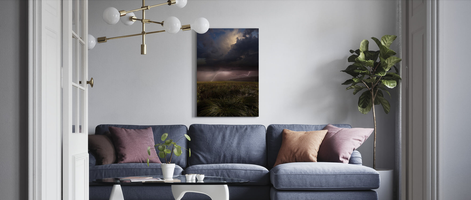 Pink Lightning - Canvas print - Living Room