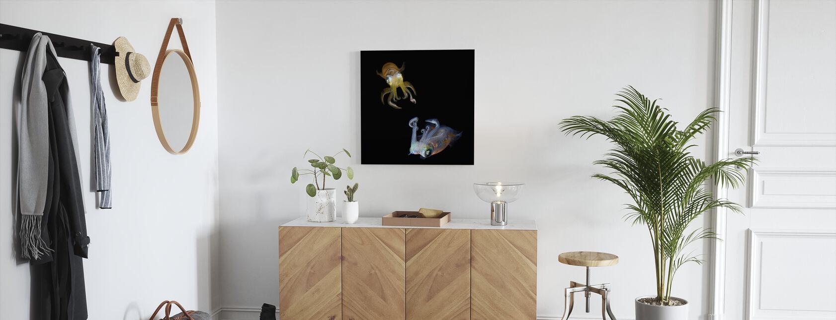 Glowing Squids - Canvas print - Hallway