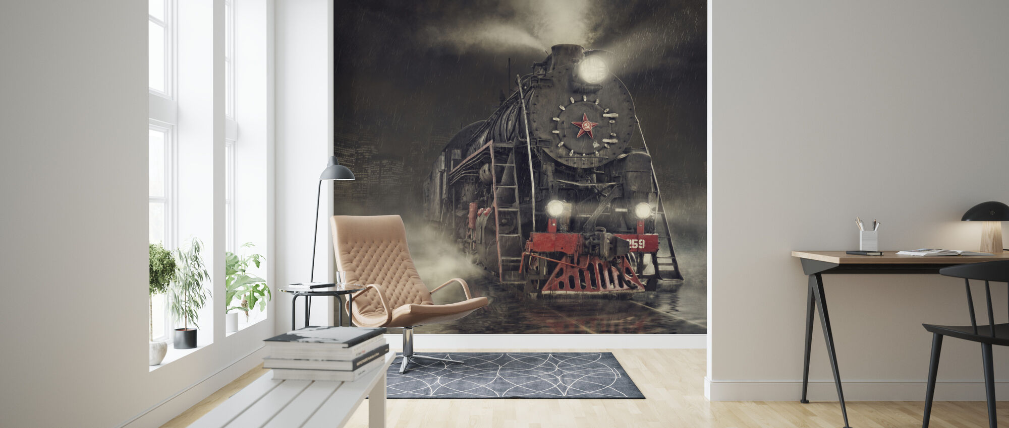 Train in the Rain - Wallpaper - Living Room