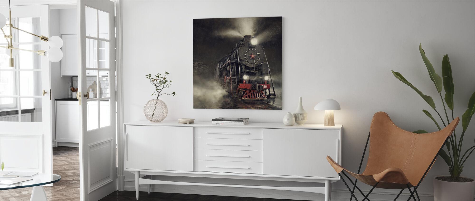Train in the Rain - Canvas print - Living Room