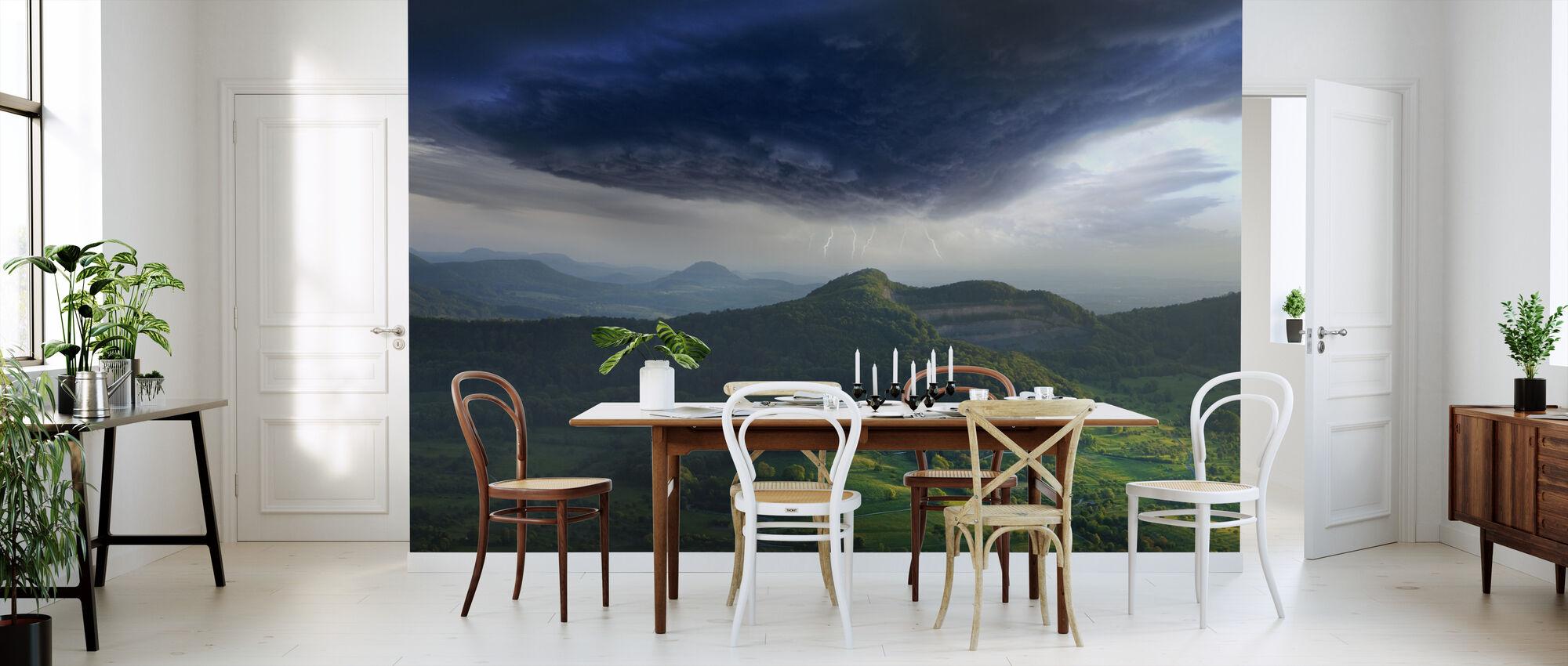 Green Landscape Thunderstorm - Wallpaper - Kitchen