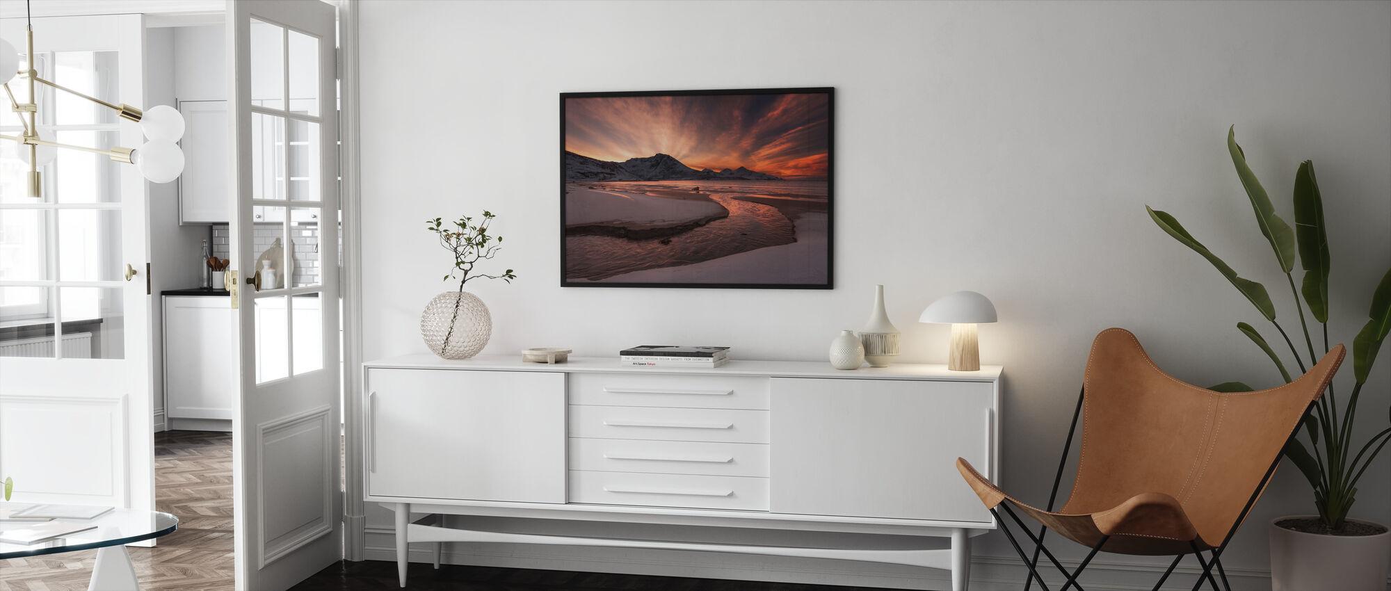 Golden Sunset in Norway - Framed print - Living Room