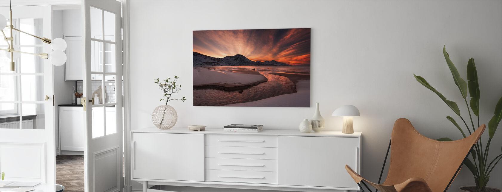 Golden Sunset i Norge - Lerretsbilde - Stue