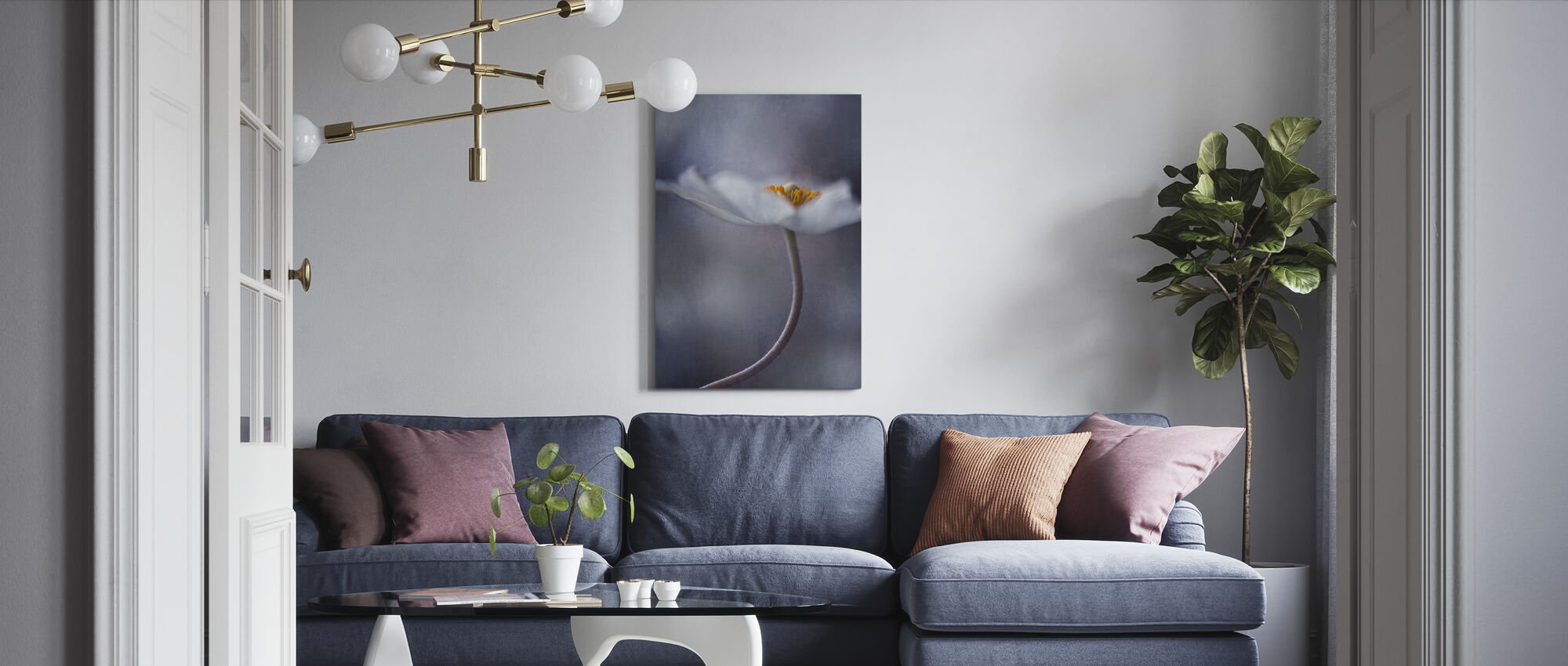 Witte Anemoon - Canvas print - Woonkamer