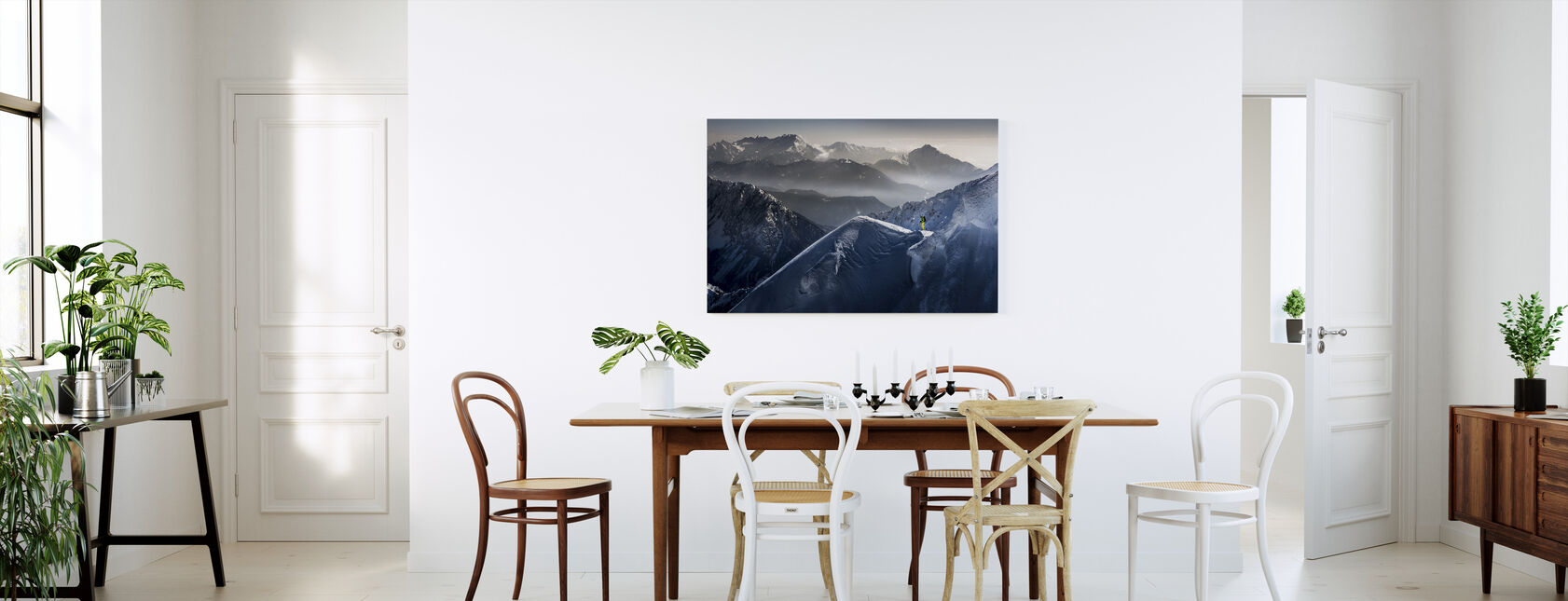 Skiër op Mountain Top - Canvas print - Keuken