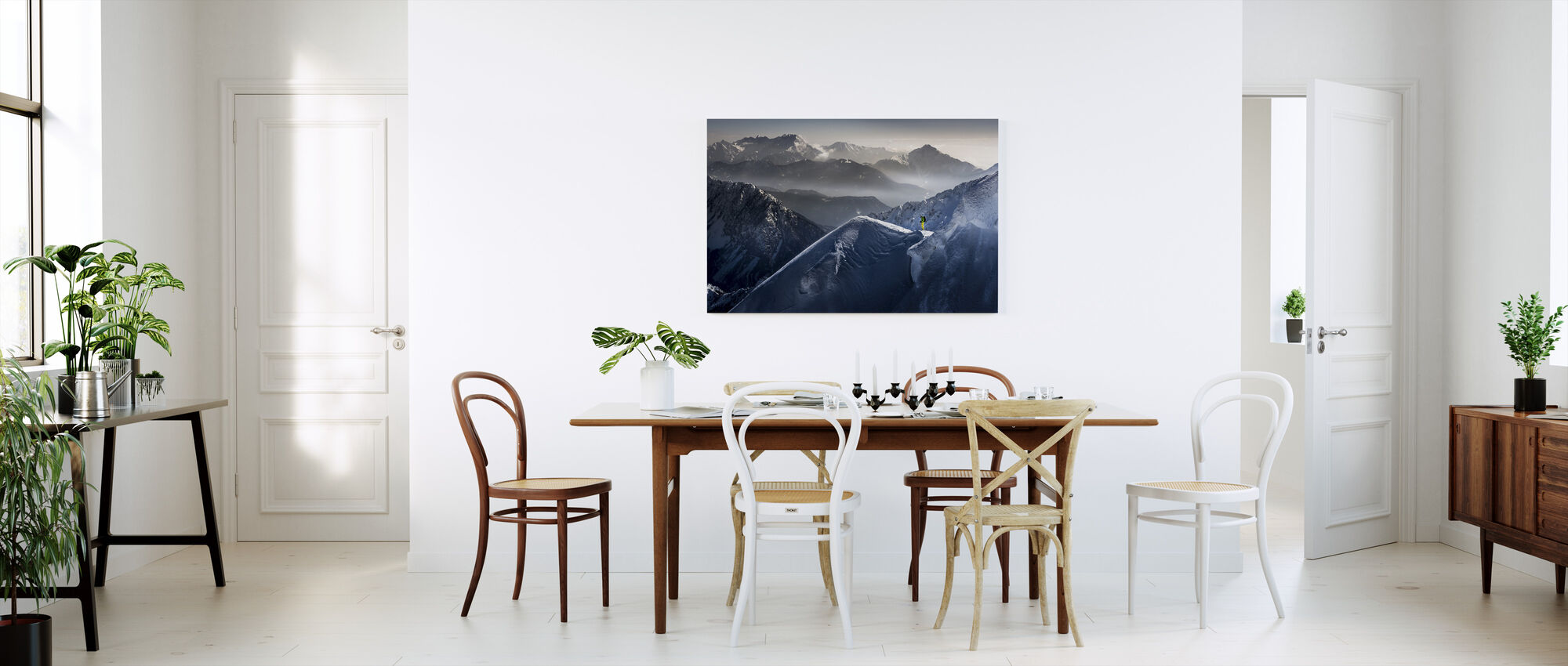 Skier on Mountain Top - Canvas print - Kitchen