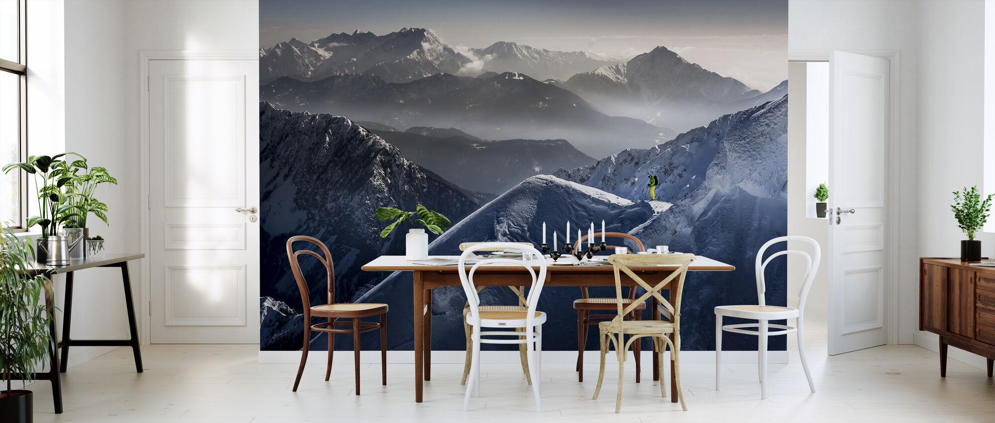 Esquiador en la cima de montaña - Papel pintado - Cocina