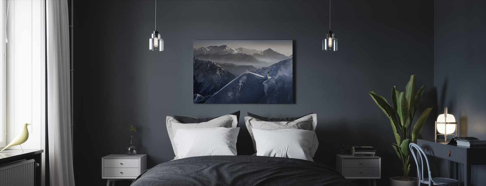 Skiër op Mountain Top - Canvas print - Slaapkamer
