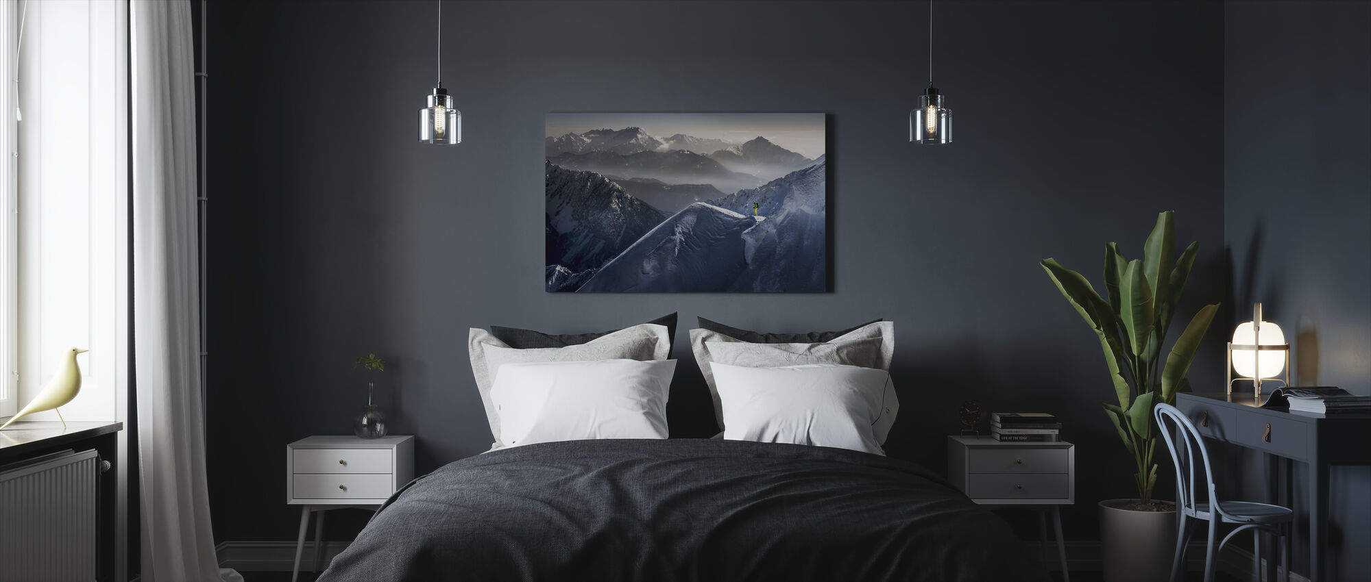 Skiër op Mountain Top - Canvas print - Slaapkamer