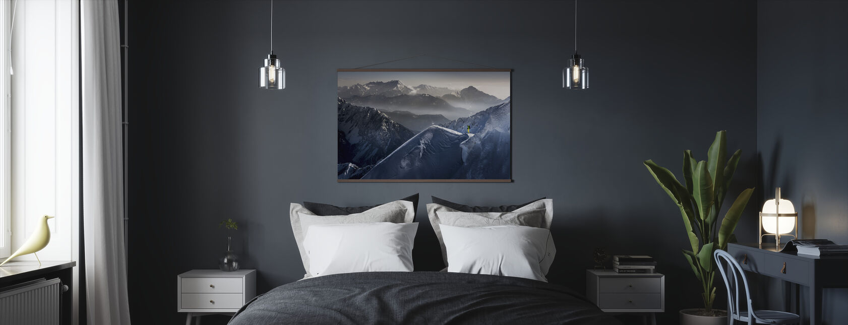Skier on Mountain Top - Poster - Bedroom