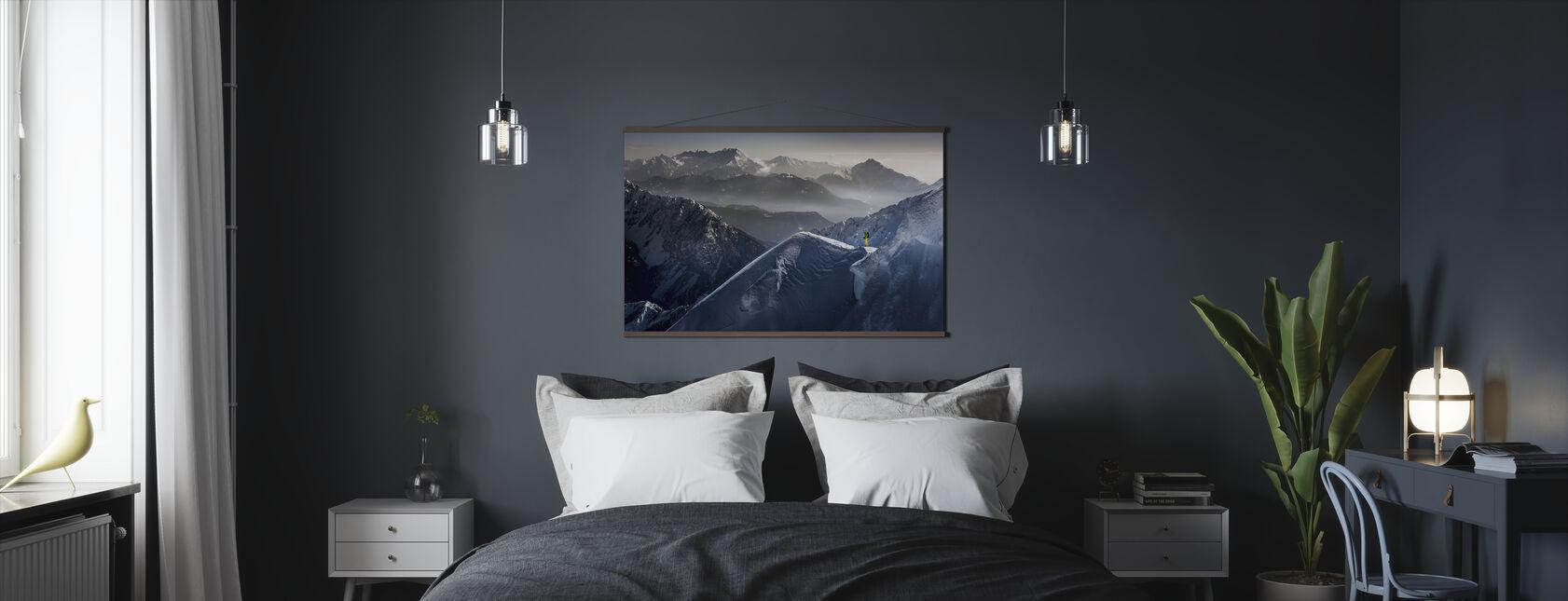 Skiløber på Mountain Top - Plakat - Soveværelse