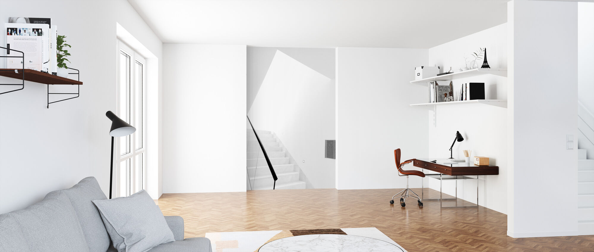 White Staircase - Wallpaper - Office