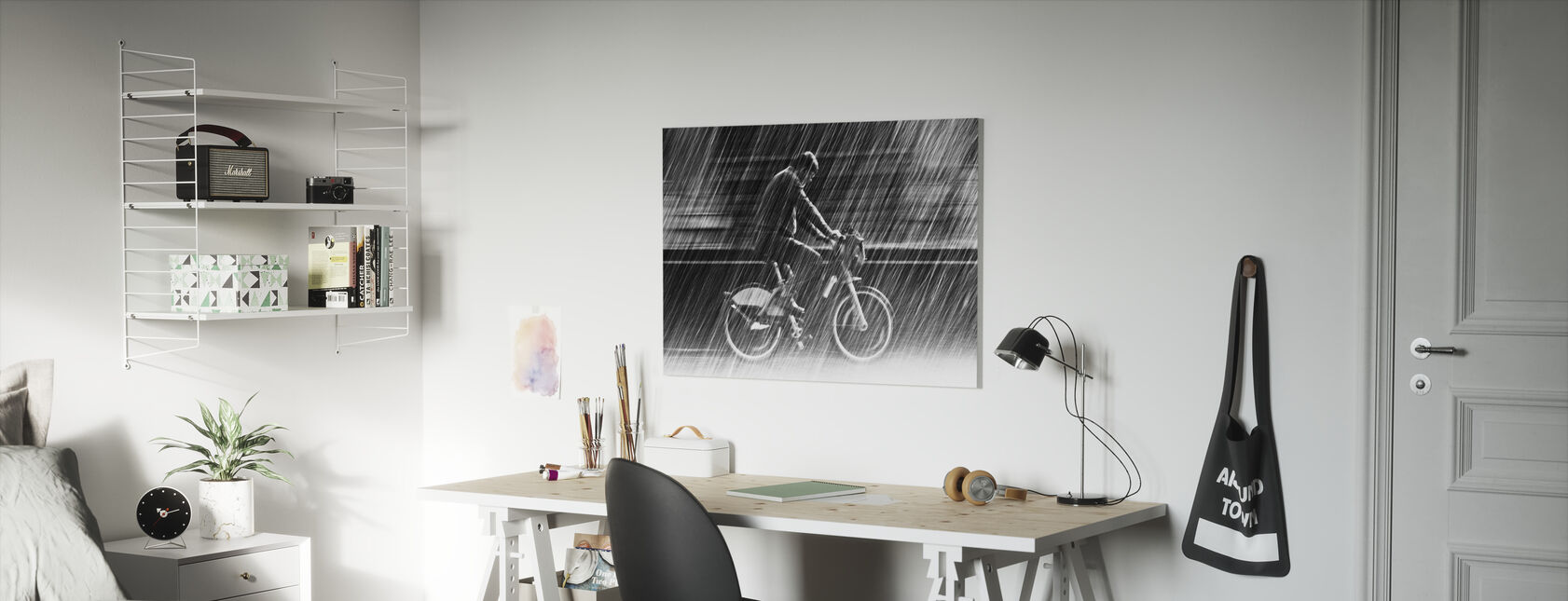 Polkupyörä sateessa - Canvastaulu - Lastenhuone