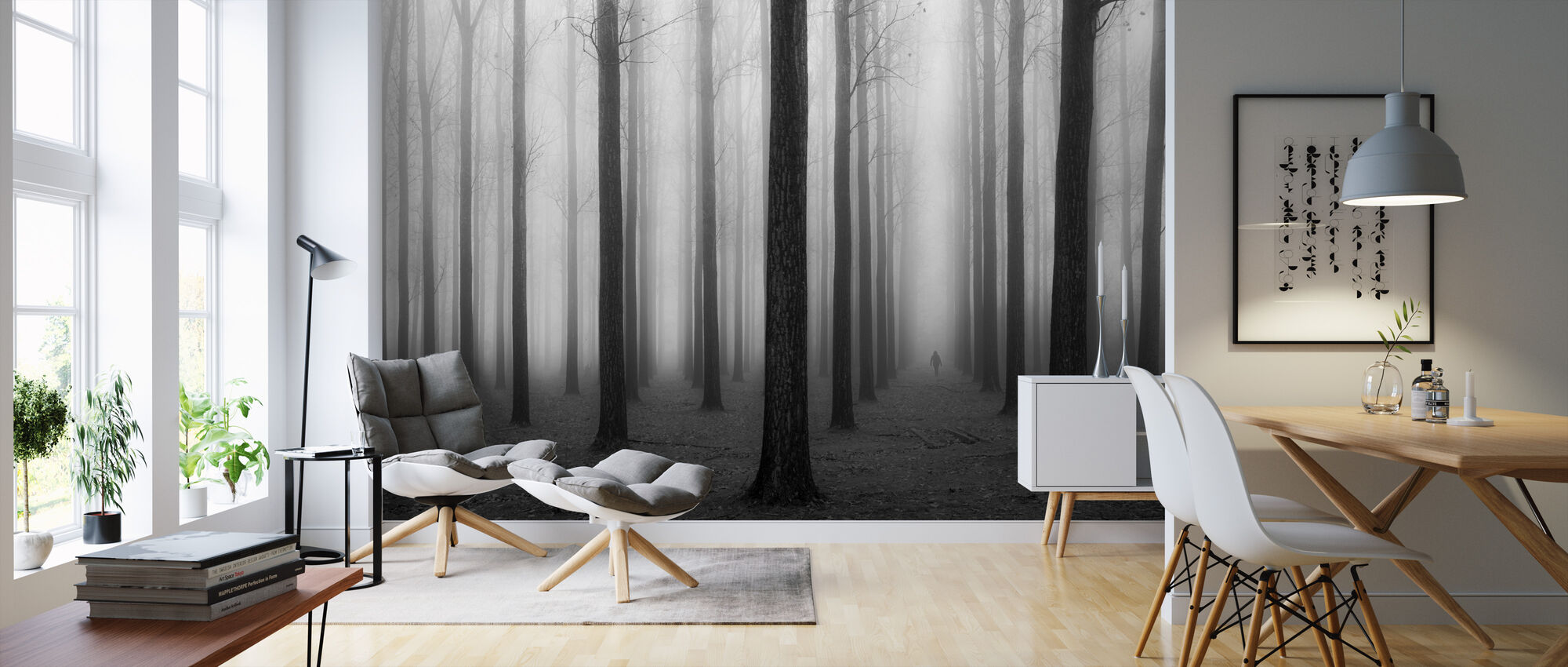 Nebel & Bäume - Tapete - Wohnzimmer