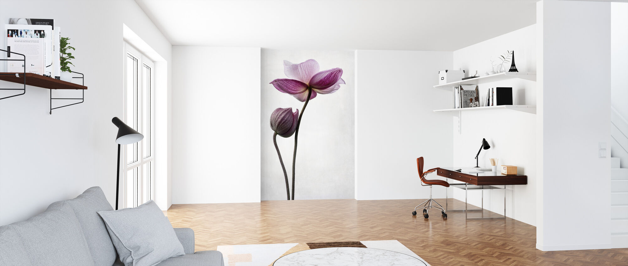 Pink Flowers - Wallpaper - Office