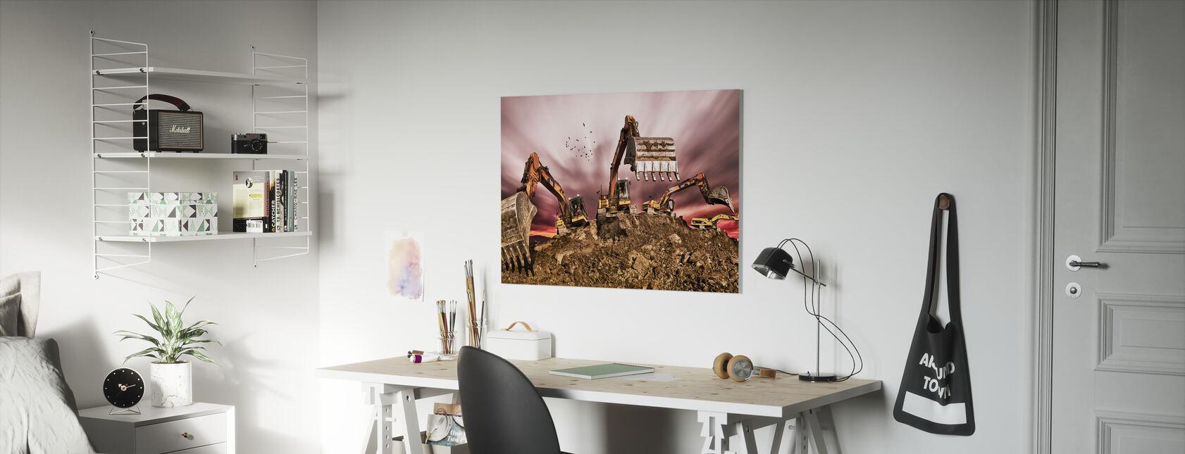Excavators - Canvas print - Kids Room