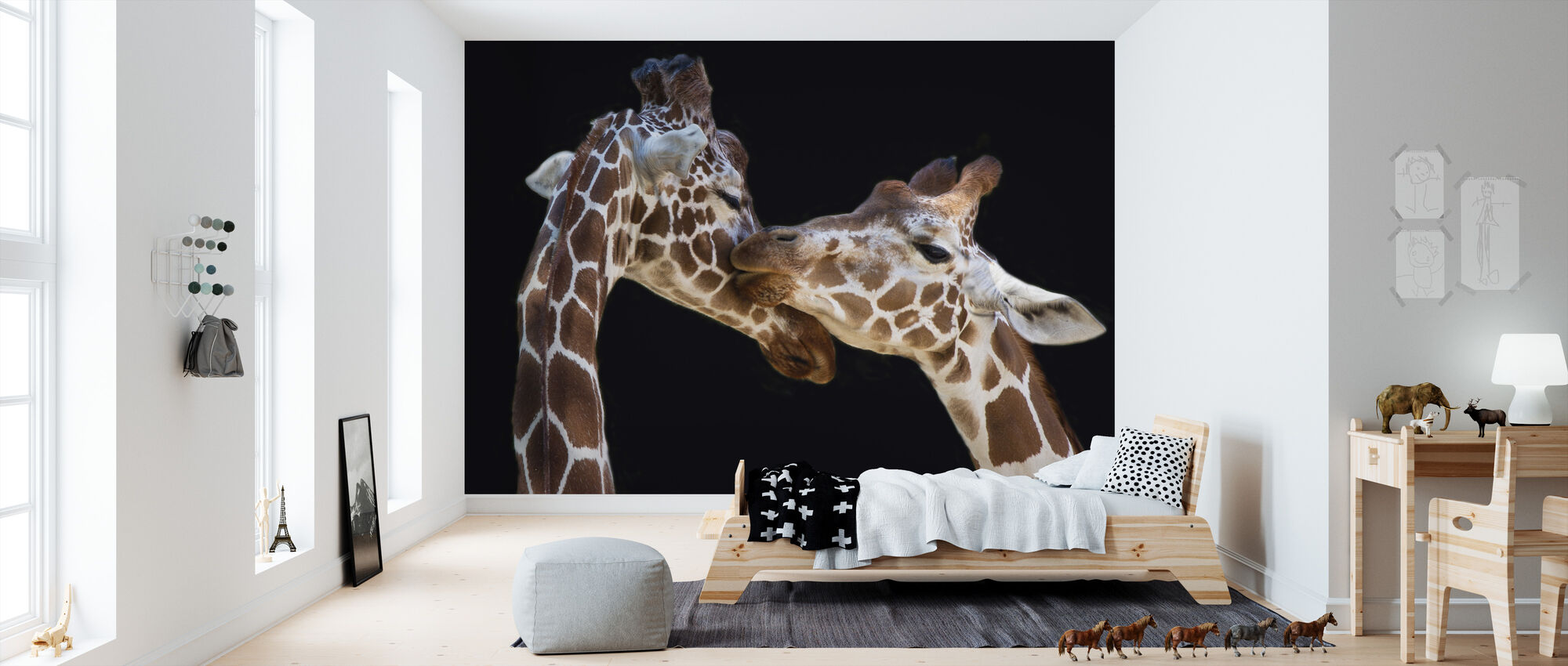 Giraffes Kissing - Wallpaper - Kids Room
