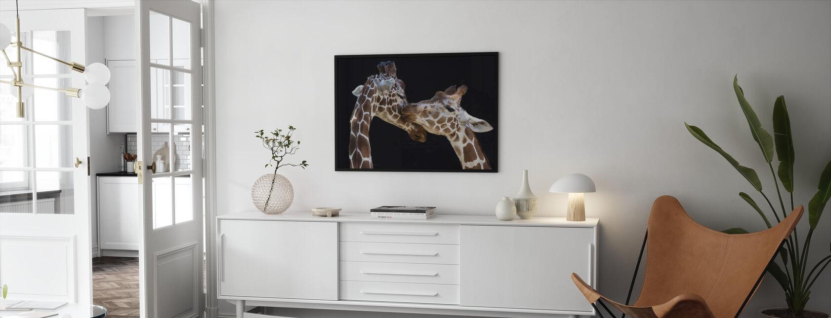 Giraffes Kissing - Framed print - Living Room