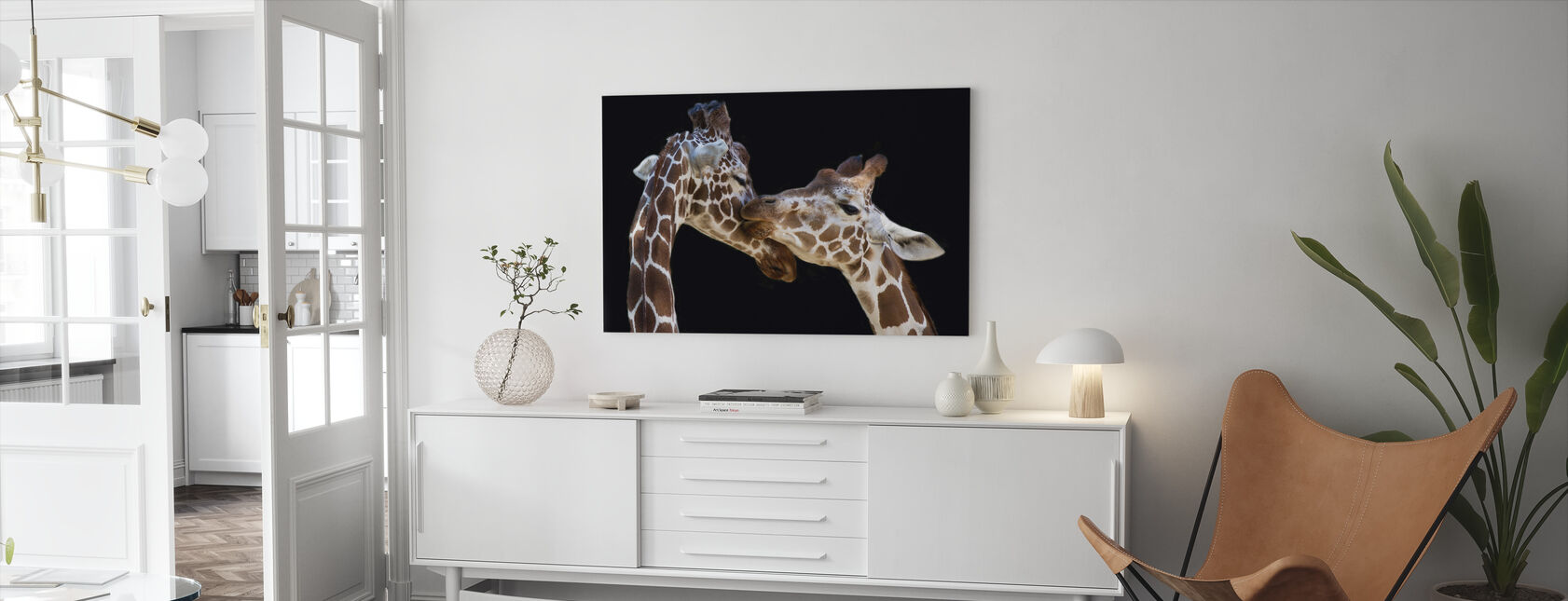 Giraffes Kissing - Canvas print - Living Room