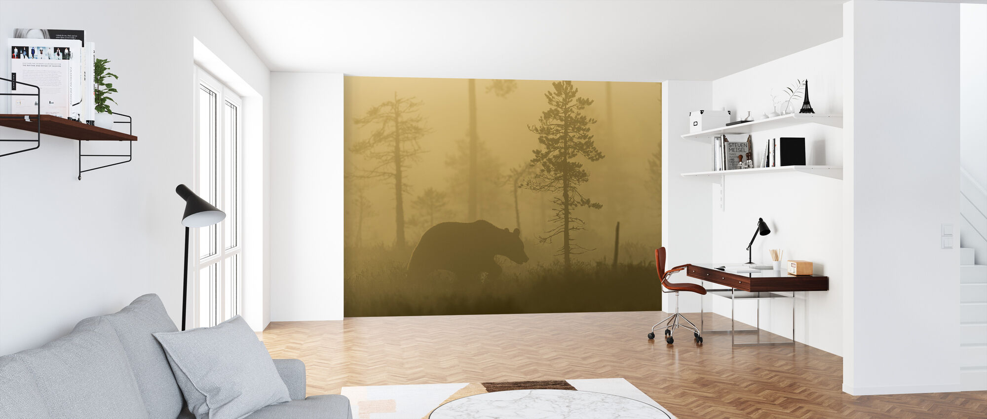 Bear in Morning Fog - Wallpaper - Office