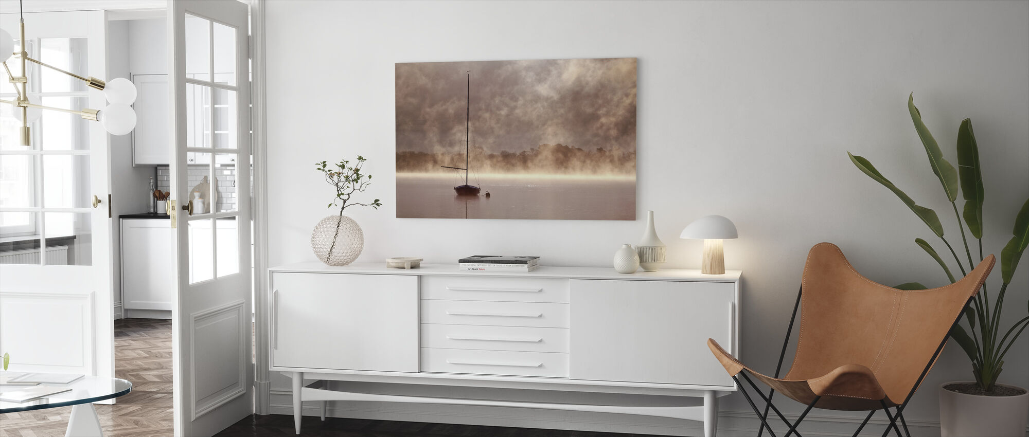Misty Boatride - Canvas print - Woonkamer