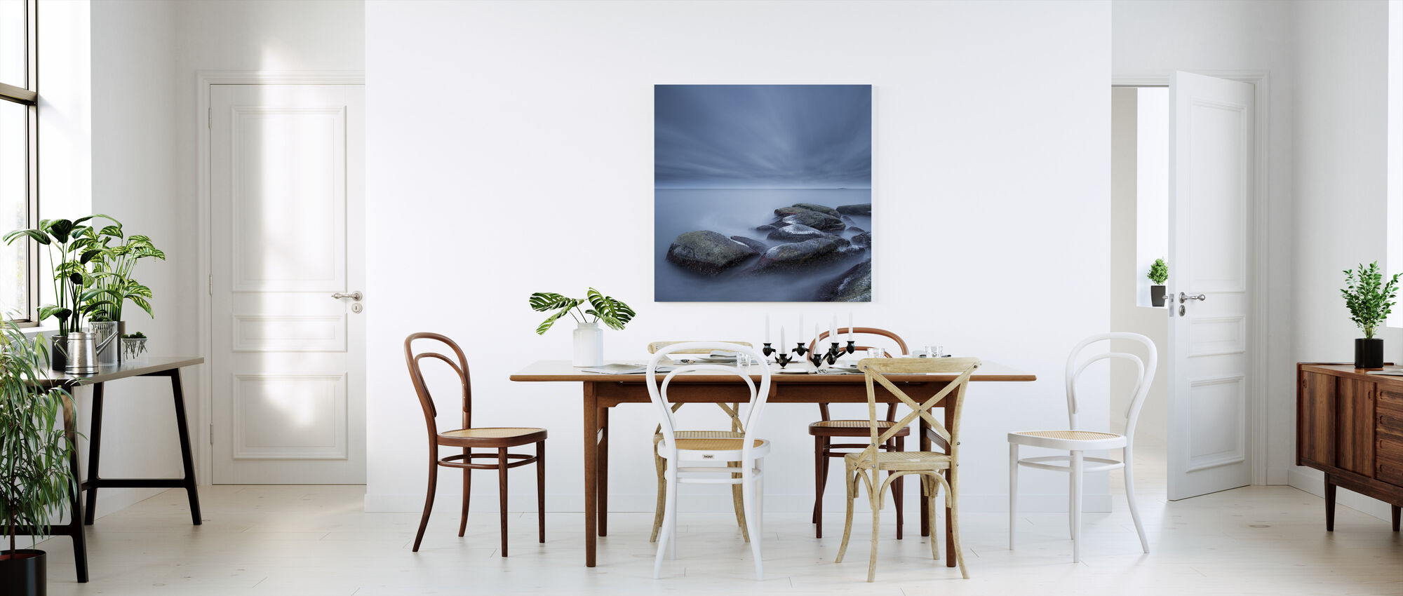Dimma stenar i blått hav - Canvastavla - Kök