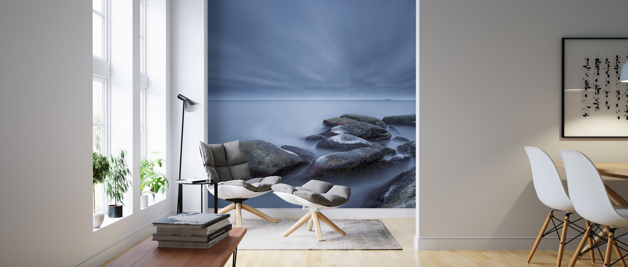 Foggy Stones in Blue Sea - Wallpaper - Living Room