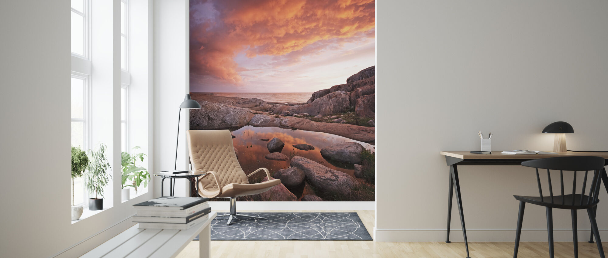 Fiery Clouds at Sea - Wallpaper - Living Room