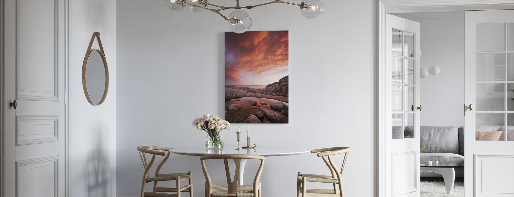 Flammende skyer på sjøen - Lerretsbilde - Kjøkken