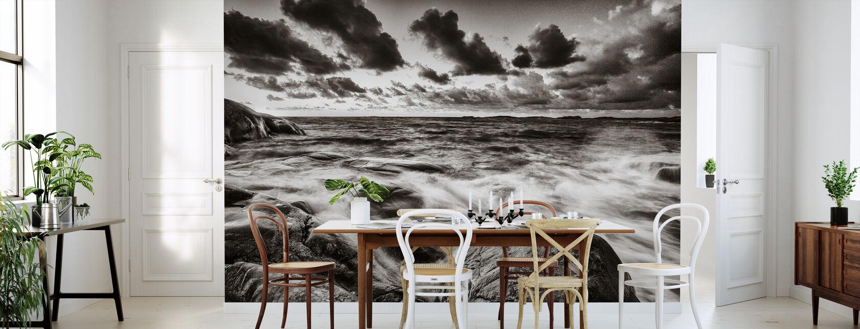 mar tempestuoso en rocas - Papel pintado - Cocina