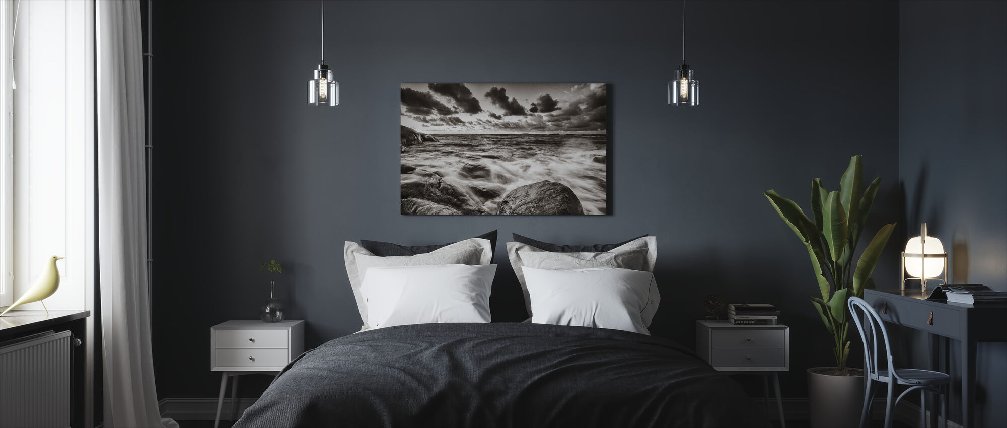 Stormy Sea at Rocks - Canvas print - Bedroom