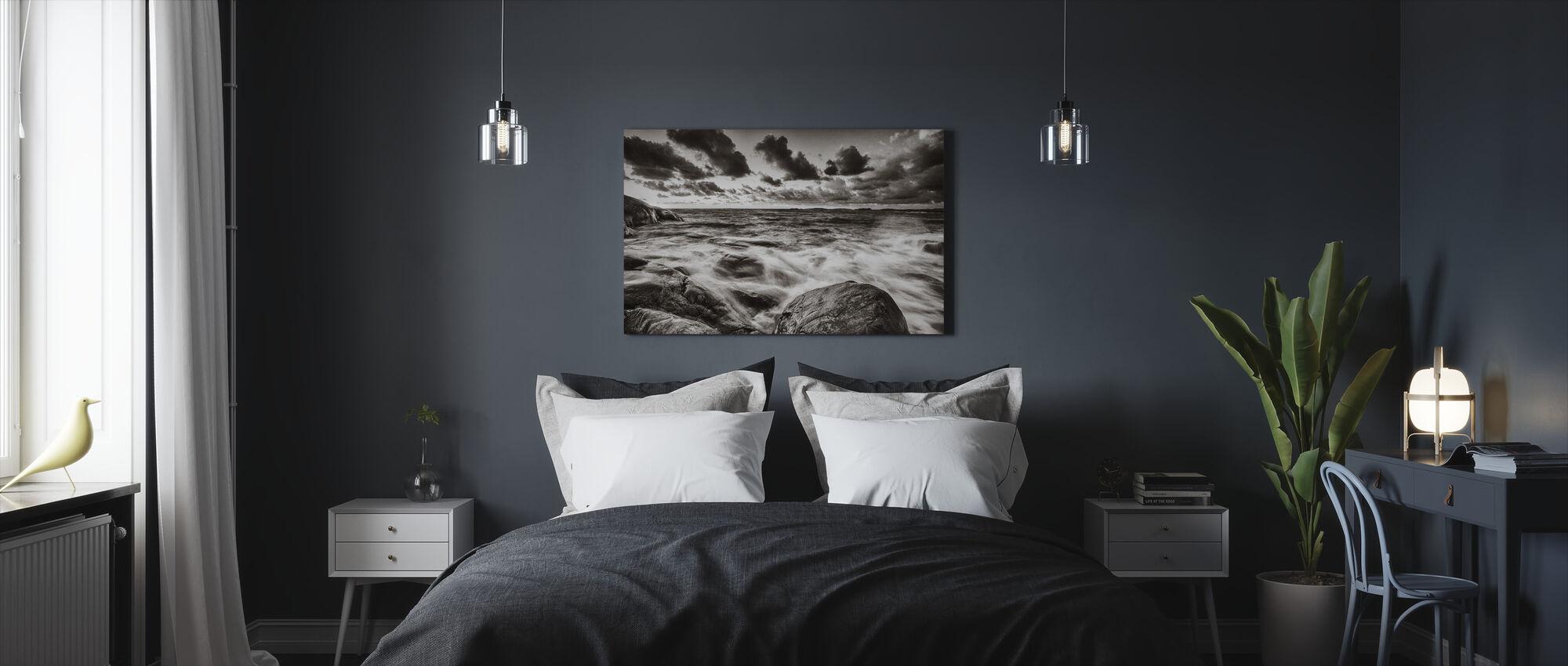 mar tempestuoso en rocas - Lienzo - Dormitorio