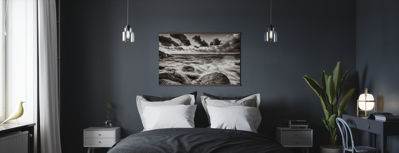 Stormy Sea at Rocks - Poster - Bedroom