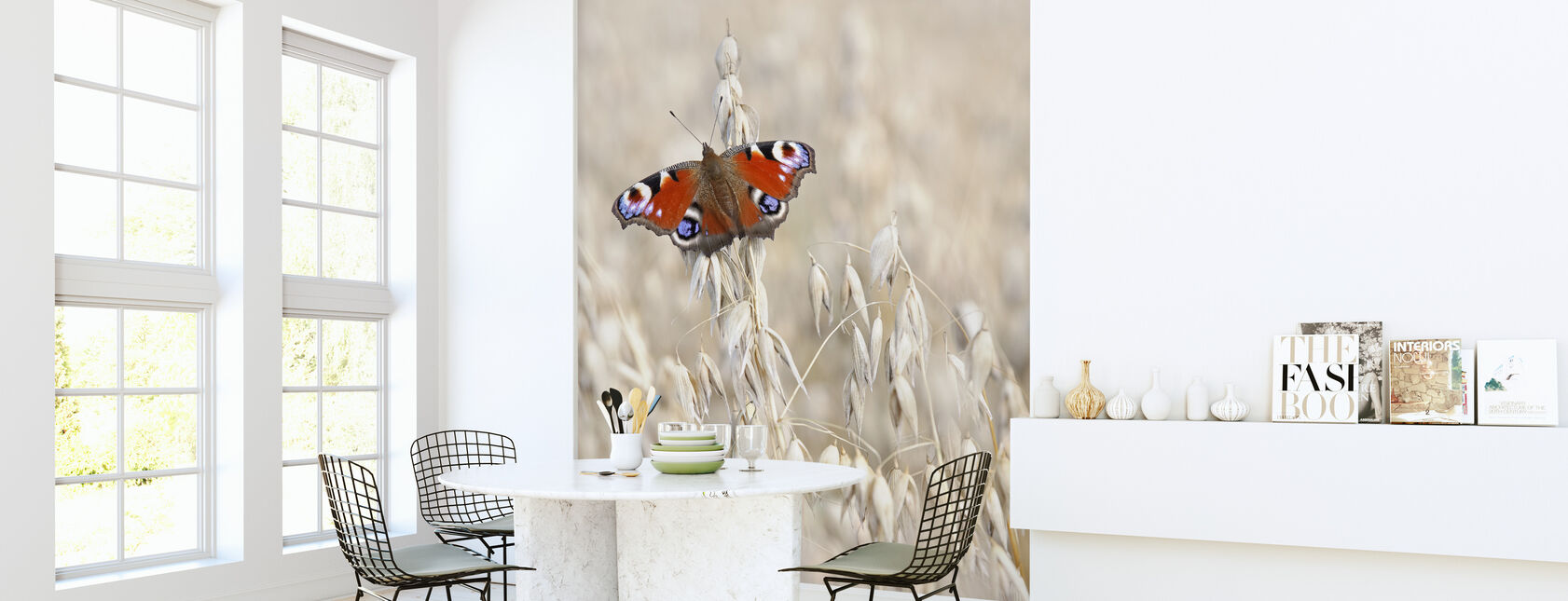 Peacock Butterfly on Oats - Wallpaper - Kitchen