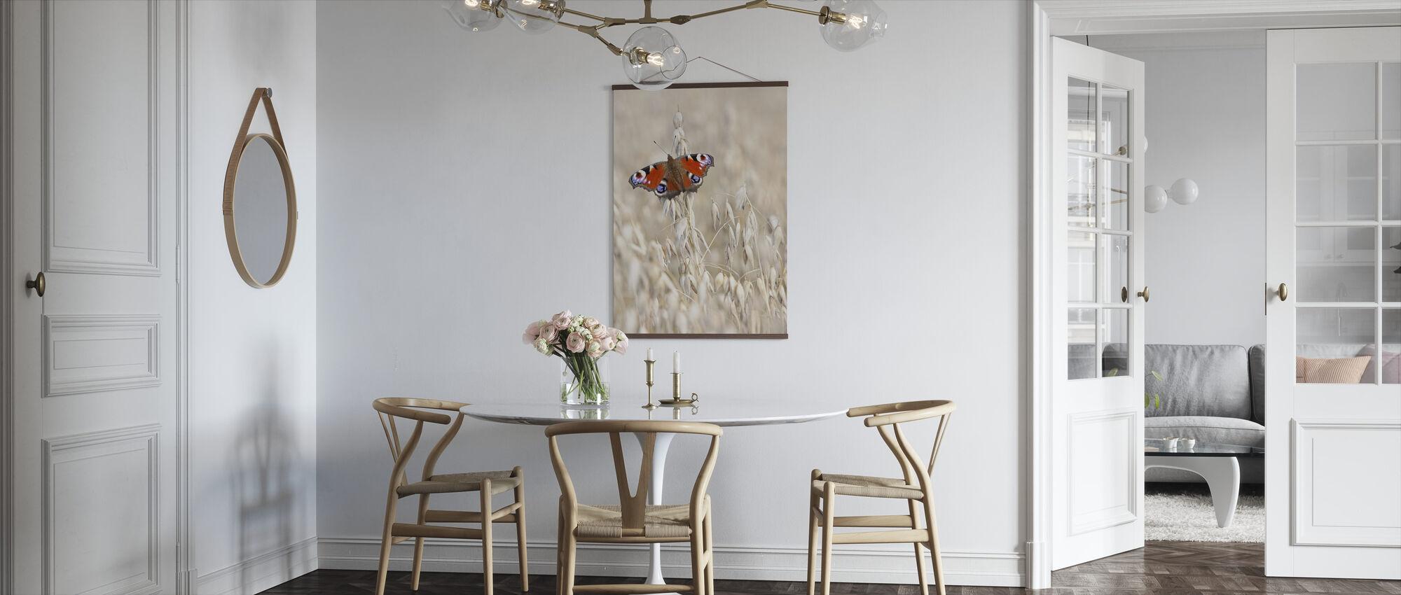 Pauw Vlinder op Haver - Poster - Keuken