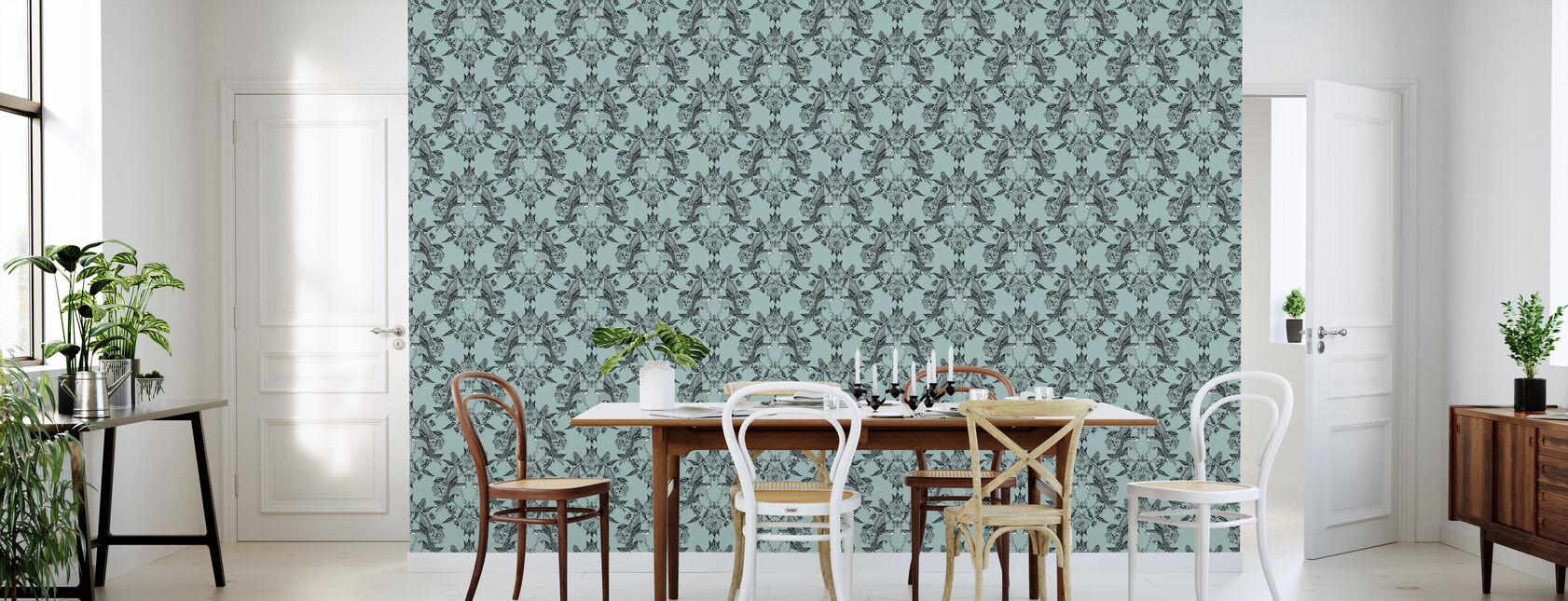 Budgies Medallion Turquoise - Wallpaper - Kitchen