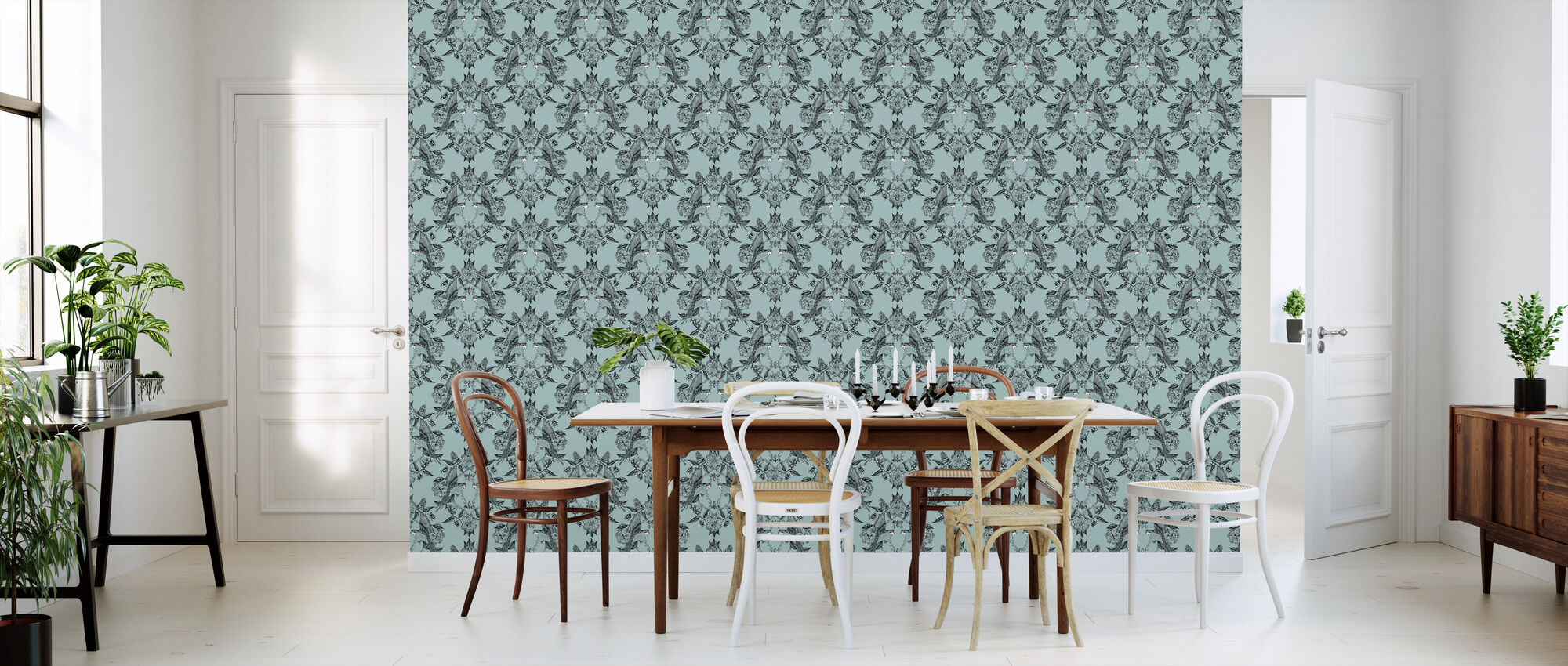 Budgies Medallion Turquoise - Wallpaper - Kitchen