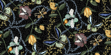 Tapet - Bugs & Butterflies Black with Dots - Small