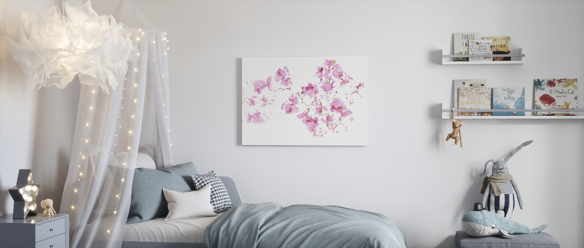 Pink Floral flow - Canvas print - Kids Room