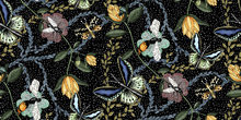 Tapet - Bugs & Butterflies Black with Dots - Large