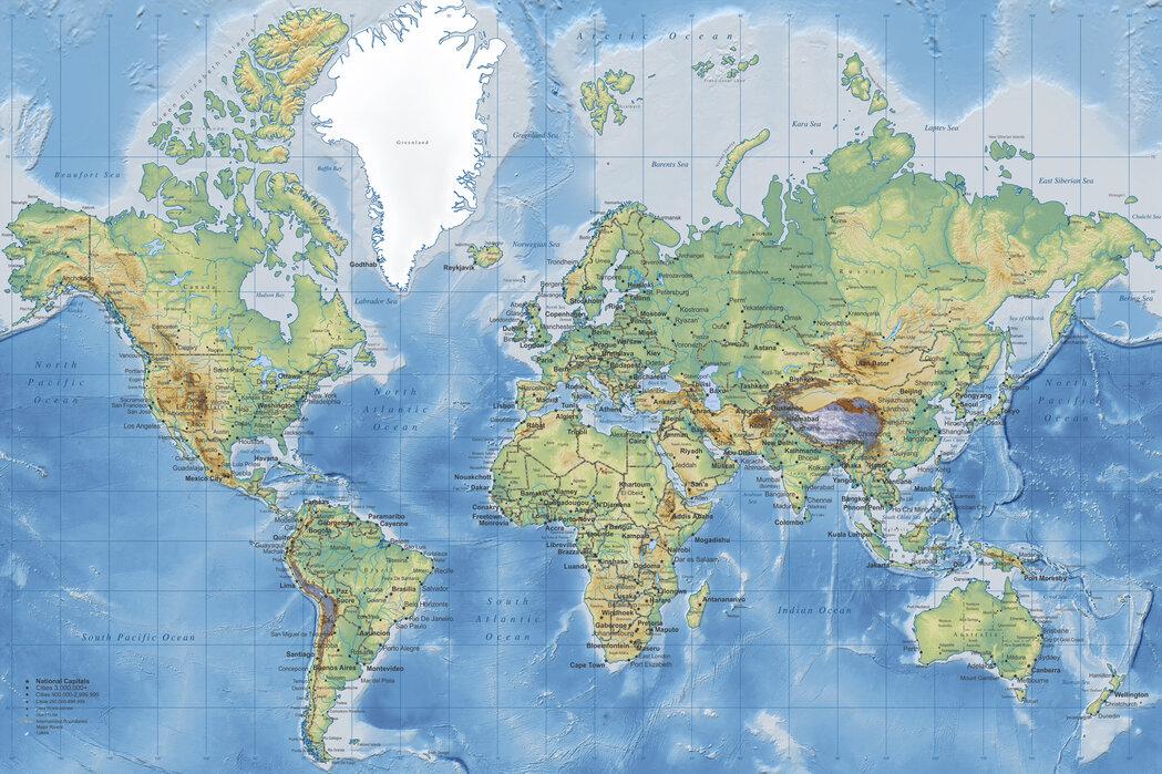 World Map Detailed – Beliebte Fototapete – Photowall